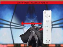 To defend against a lightsaber, hold the Wiimote PERPENDICULAR to the arrow, with the